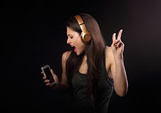 Free Beautiful Dancing Young Woman Listening The Music, Showing V Sig Stock Images - 93816844