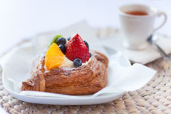 Beautiful danish pastry and a cup of tea Royalty Free Stock Image