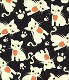 Beautiful dark background with white cats pattern Royalty Free Stock Image
