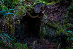 Beautiful dark Cave in Rangitoto Island, made of volcanic formations in New Zealand Stock Photo