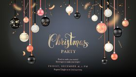 Beautiful dark christmas balls. Luxury decoration with balls winter holiday background. Dark Christmas template for banners, advertising, leaflet, cards Royalty Free Stock Photos
