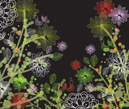 Beautiful dark floral illustration Royalty Free Stock Photo