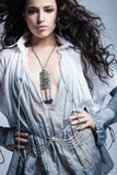 Beautiful dark hair fashion girl  studio shot Royalty Free Stock Photos