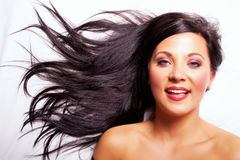 Beautiful dark hair girl smiling Royalty Free Stock Images