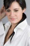 Beautiful Dark Haired Girl Looking Happy Royalty Free Stock Images