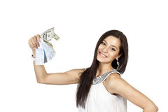 Beautiful dark-haired girl shows easy money Stock Photography