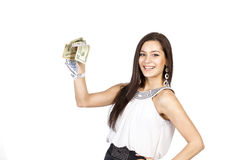 Beautiful dark-haired girl shows easy money Royalty Free Stock Photography