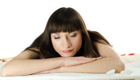 Beautiful dark-haired woman asleep Stock Photo