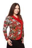 Beautiful dark-haired woman in a office blouse. Beautiful dark-haired woman in a blouse stock photo