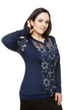 Beautiful dark-haired woman in a office blouse. Beautiful dark-haired woman in a blouse stock image