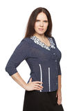 Beautiful dark-haired woman in a office blouse. Beautiful dark-haired woman in a blouse royalty free stock photography