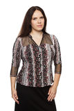 Beautiful dark-haired woman in a office blouse Royalty Free Stock Photo