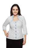 Beautiful dark-haired woman in a office blouse Royalty Free Stock Photography