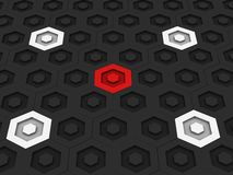 Beautiful dark hexagon background with white and red small hexagons Royalty Free Stock Images