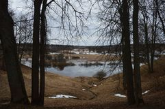 Beautiful dark landscape with a small pond. Beautiful dark landscape small pond stock photography