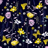 Beautiful dark night  Seamless Pattern colorful wind blow flower. S,  Isolated on navy blue color. Botanical Floral Decoration Texture. Vintage Style Design for Stock Photos