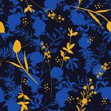 Beautiful dark night Silhouette Abstract seamless pattern with l. Beautiful dark night Silhouette Abstract with bright yellow botanical seamless pattern with stock illustration