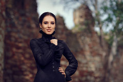 Beautiful Dark Princess at the Castle. Portrait of gothic queen in her kingdom Stock Images