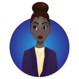 Beautiful dark-skinned girl with big blue eyes, red lips royalty free illustration