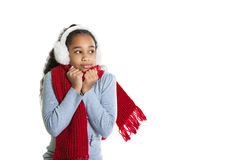 A beautiful dark-skinned girl in a red scarf. Cold. Girl froze Stock Photo