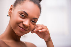 Beautiful  dark skinned girl  Stock Photo