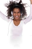 A beautiful dark-skinned woman with hands up Royalty Free Stock Photography