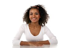 A beautiful dark-skinned woman in the studio Royalty Free Stock Images