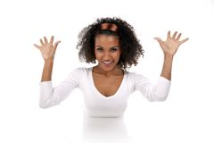 A beautiful dark-skinned woman in a white Stock Image