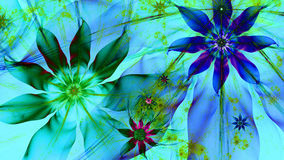 Beautiful dark vivid glowing modern flower background in green,pink,purple,cyan colors Royalty Free Stock Photos