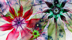 Beautiful dark vivid glowing modern flower background in green,red,blue colors. Beautiful modern high resolution flower background with a detailed flower pattern royalty free illustration