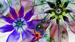 Beautiful dark vivid glowing modern flower background in green,red,purple,yellowcolors. Beautiful modern high resolution flower background with a detailed flower stock illustration