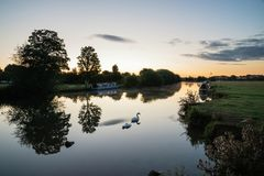 Beautiful dawn landscape image of River Thames at Lechlade-on-Th. Beautiful sunrise landscape image of River Thames at Lechlade-on-Thames in English Cotswolds Stock Images