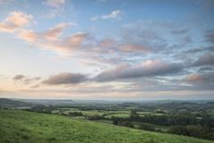 Beautiful dawn landscape over Somerset Levels in English country Stock Photos