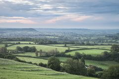 Beautiful dawn landscape over Somerset Levels in English country Royalty Free Stock Photography