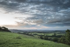 Beautiful dawn landscape over Somerset Levels in English country. Beautiful sunrise landscape over Somerset Levels in English countryside stock image