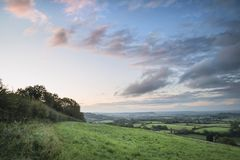 Beautiful dawn landscape over Somerset Levels in English country Royalty Free Stock Photo