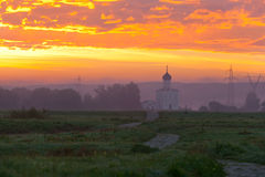 Beautiful dawn over Church of the Intercession of the Holy Virgin on the Nerl River Royalty Free Stock Images