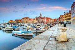 Beautiful dawn with Rovinj old town,Istria region,Croatia,Europe royalty free stock photos