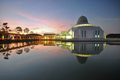 Beautiful dawn sky over the floating mosque. Royalty Free Stock Photography