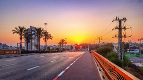 Beautiful dawn view on bridge Royalty Free Stock Photo