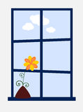 Beautiful day. Vector illustration of a window with potted flower on the sill vector illustration