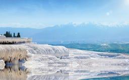 Beautiful day in amazing white Pamukkale,Turkey royalty free stock photos