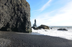 Beautiful Day on the Black Sand Beach in Vik Iceland Stock Photography
