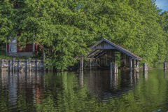 A beautiful day in a boat at five sea, old boathouse Royalty Free Stock Photos