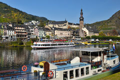 Cochem city, Germany. Ferry on Mosel river stock photo