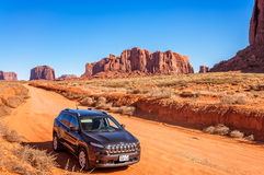 A beautiful day for driving through Monument Valley. Royalty Free Stock Photography