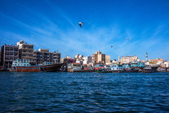 Beautiful day of Dubai Creek. This image was taken from Bur Dubai side. The day was very clear and beautiful. Dubai Creek have 2 sides, one is Deira, another one Royalty Free Stock Image