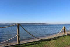 Sea and dock. A beautiful day in the harbor of çanakkale in January Royalty Free Stock Photos