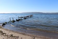 Sea and dock royalty free stock photography