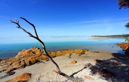 Beautiful day in Mallacoota Australia. Beautiful sunny day on the foreshore of idyllic unspolt Mallacoota, East Gippsland Victoria stock image